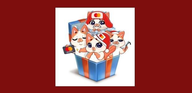 ВК стикеры Зима с Миу-Мяу от Mastercard Как получить
